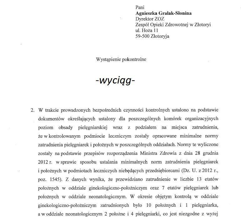 WAŻNE!!! Zobacz co stwierdziła kontrola Wojewody Dolnośląskiego w zakresie norm zatrudniania pielęgniarek i położnych, w szpitalu, który chce w przyszłym tygodniu zwolnić pielęgniarkę (zarzut zniesławienia), która przekazała do publicznej wiadomości informację na temat poziomu udzielania świadczeń zdrowotnych.