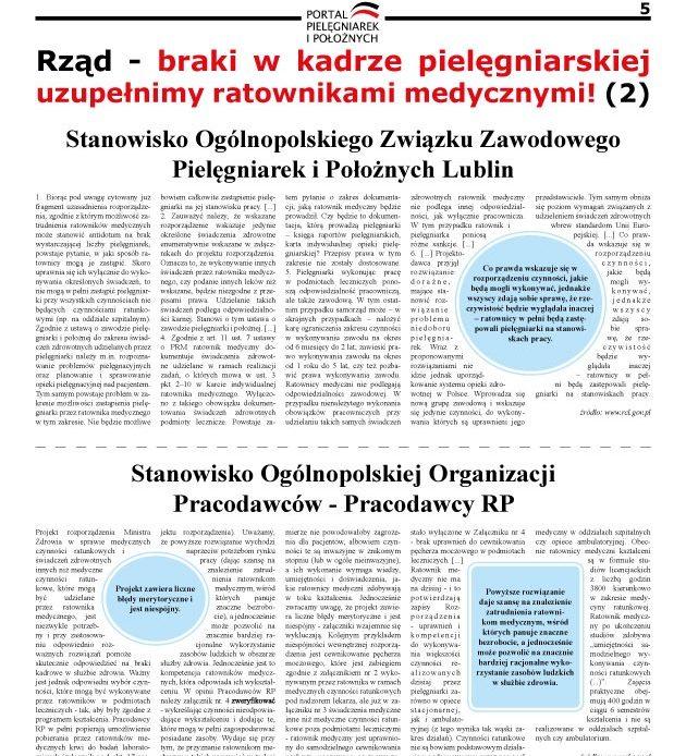 Kwietniowe wydanie Miesięcznika Ogólnopolskiej Gazety Pielęgniarek i Położnych – Co prawda wskazuje się w rozporządzeniu czynności, jakie będą mogli wykonywać, jednakże wszyscy zdają sobie sprawę, że rzeczywistość będzie wyglądała inaczej – ratownicy w pełni będą zastępowali pielęgniarki na stanowiskach pracy.