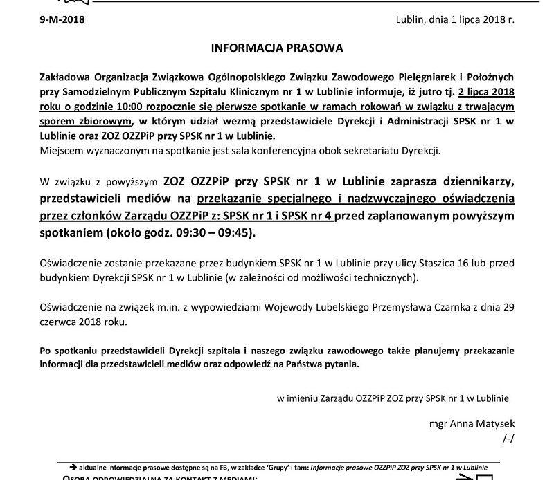 Pielęgniarki na zwolnieniach – Lublin – informacja prasowa z dnia 1 lipca 2018 roku.