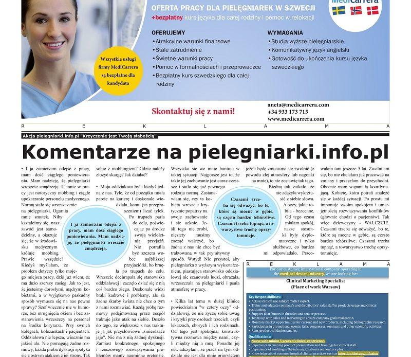"""Komentarz na pielegniarki.info.pl: """"Pielęgniarka oddziałowa doskonale widzi braki kadrowe i problemy, ale za żadne skarby świata nie chce o tym z nami rozmawiać. Każdą próbę rozmowy podejmowaną przez zespół traktuje jako atak na siebie."""""""