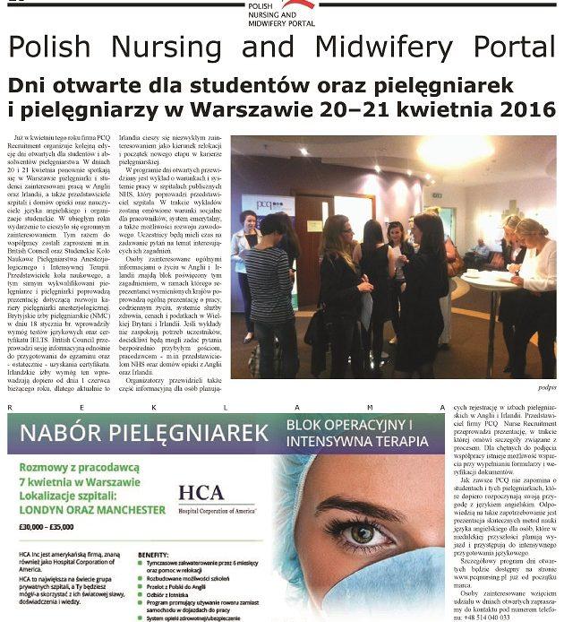 Dni otwarte dla studentów oraz pielęgniarek i pielęgniarzy w Warszawie 20–21 kwietnia 2016