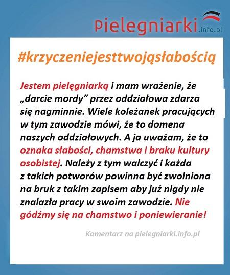 """Komentarz na pielegniarki.info.pl: """"My mamy pracować ramię w ramię, a nie obrażać się wzajemnie, jak dzieci z przedszkola. Wstyd, koleżanki, wstyd. Zaczynam tracić wiarę w ten cały """"zespół pielęgniarski""""."""