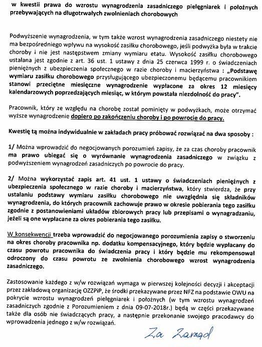 Związek pielęgniarek napisał do pielęgniarek, które straciły na (NIE)porozumieniu 1100 zł.