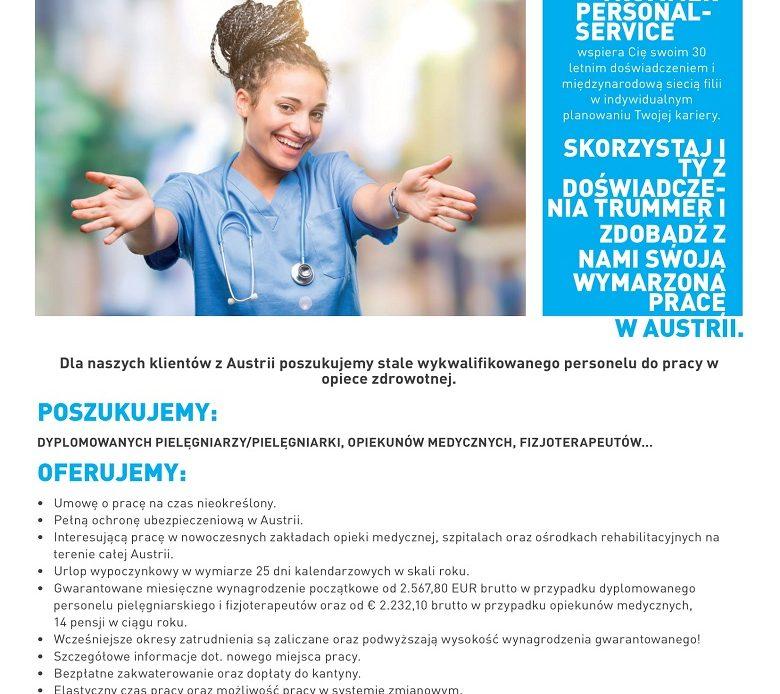 Praca dla pielęgniarek/pielęgniarzy, opiekunów medycznych, fizjoterapeutów. Wynagrodzenie od 2500 EUR.