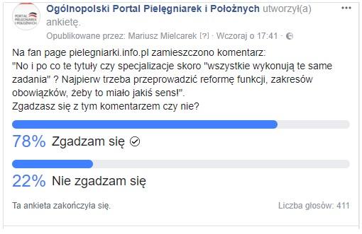 """W jednodniowej sondzie na pielegniarki.info.pl wzięło udział ponad czterysta osób – """"No i po co te tytuły czy specjalizacje skoro """"wszystkie wykonują te same zadania"""" ? Najpierw trzeba przeprowadzić reformę funkcji, zakresów obowiązków, żeby to miało jakiś sens!"""". Zgadzasz się z tym komentarzem czy nie?"""