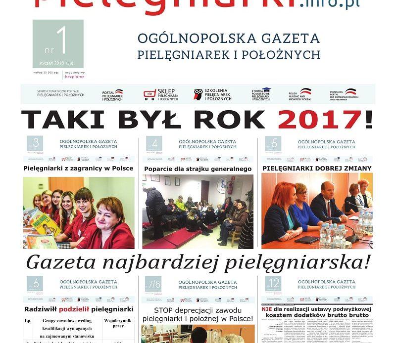 Styczniowe (2018) wydanie miesięcznika branżowego Ogólnopolska Gazeta Pielęgniarek i Położnych – pielegniarki.info.pl Kolejne wydanie 6 czerwca 2018.