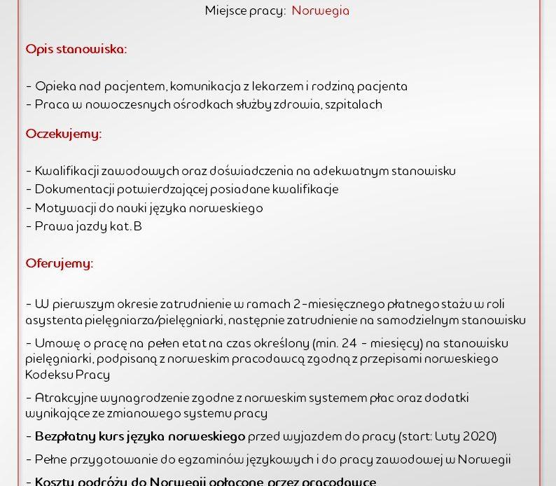Pielęgniarki i pielęgniarze – poszukiwani do pracy w Norwegii.