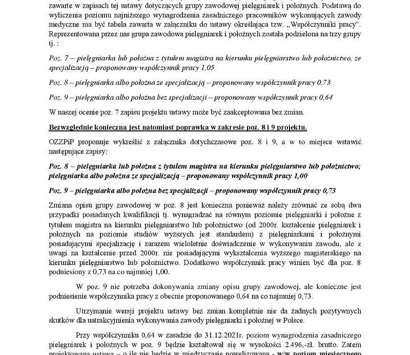 Zobacz pismo związku pip do marszałka senatu w sprawie grupy 8 i 9 pielęgniarek i położnych, zamieszczonych w ustawie o wynagrodzeniach zasadniczych w ochronie zdrowia.