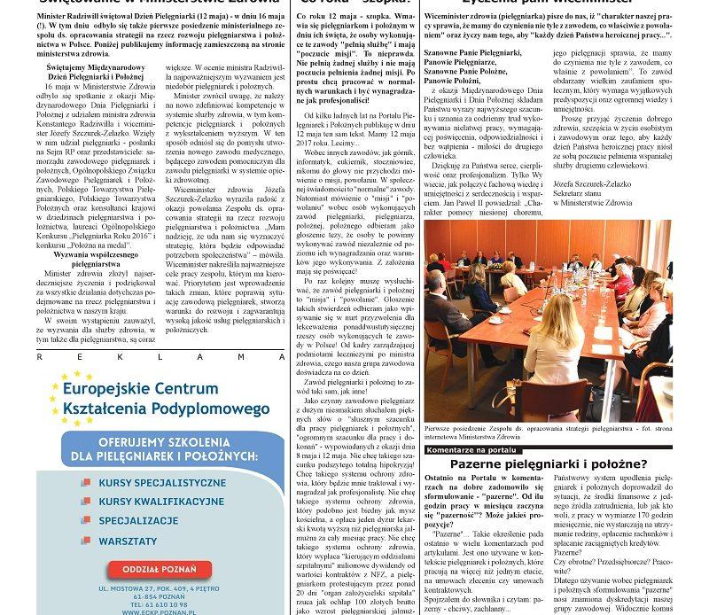 Świętowanie w Ministerstwie Zdrowia, co roku – szopka, życzenia pani wiceminister – artykuły z majowego wydania ogólnopolskiego miesięcznika branżowego pielęgniarek i położnych pielegniarki.info.pl – nakład 30 tysięcy egzemplarzy.