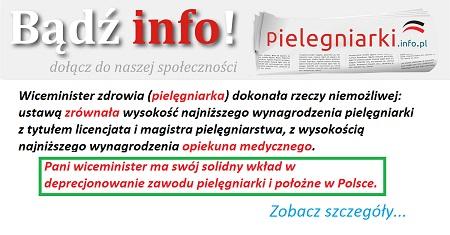 Komentarz na pielegniarki.info.pl: Czytam wszystkie aktualności i komentarze, ale nie chce mi się już zabierać głosu, ręce opadają, pozostaje żal, rozgoryczenie, rozczarowanie, nie jestem w stanie pojąć jak można tak poniewierać pielęgniarkami i tak niszczyć nasz zawód.