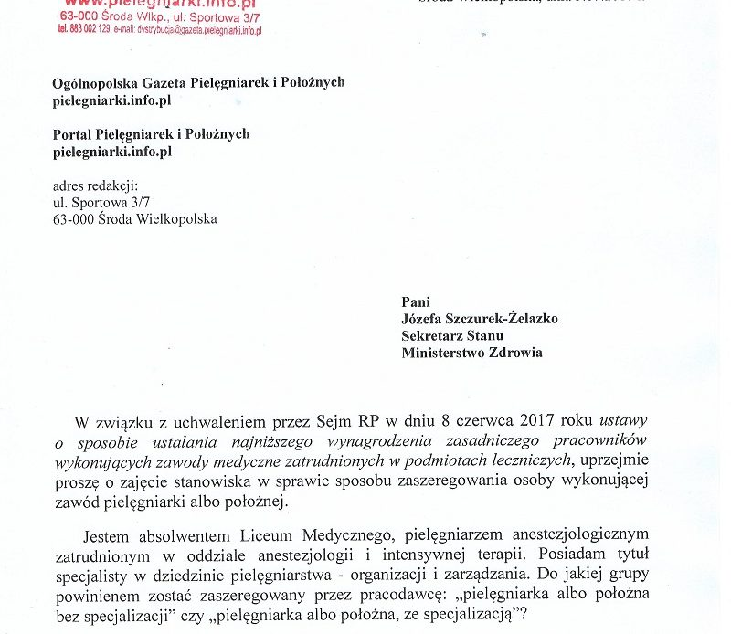 Trzecie pismo redakcji portalu pielęgniarek i położnych do wiceministra zdrowia pani Józefy Szczurek- Żelazko.