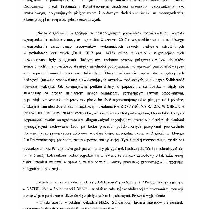 List otwarty Ogólnopolskiego Związku Zawodowego Pielęgniarek i Położnych do Przewodniczącego NSZZ 'Solidarność' Piotra Dudy w sprawie krzywdzących i uderzających w godność pielęgniarek i położnych wypowiedzi i działań dotyczących porozumienia z dnia 9 lipca.