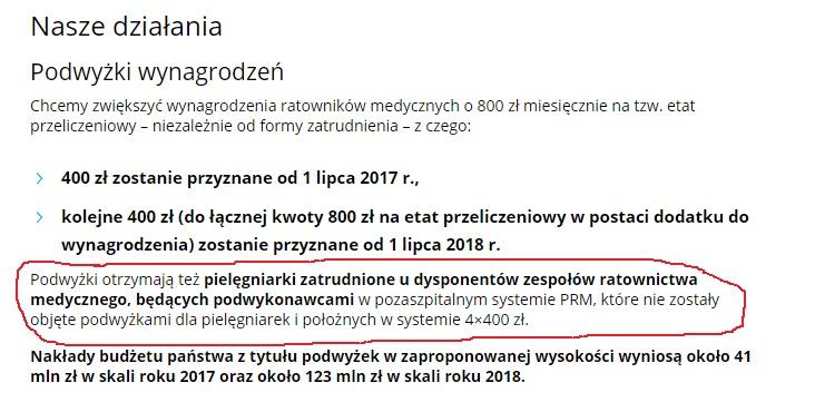 Pielęgniarki zespołów ratownictwa medycznego (podwykonawcy), których nie objęły dodatki brutto brutto, od 1 lipca będą miały wypłacany dodatek brutto brutto w kwocie 400 zł. Od 1 lipca 2018 kolejne 400 zł.