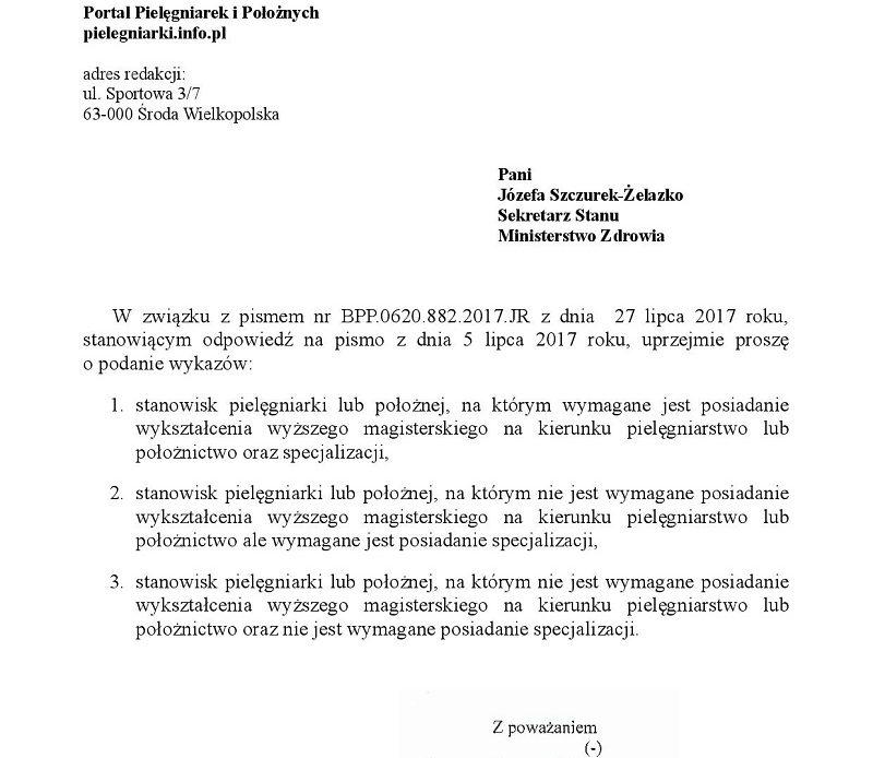 Pytanie redakcji portalu do wiceministra zdrowia (pielęgniarki) w sprawie trzech wykazów stanowisk pielęgniarki i położnej.