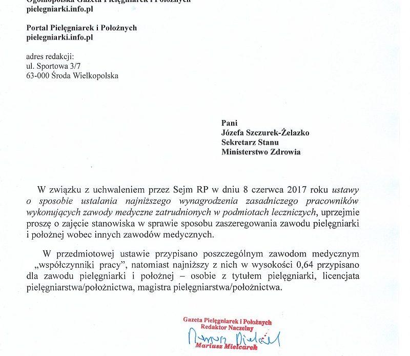 Drugie pismo redakcji portalu pielęgniarek i położnych do wiceministra zdrowia pani Józefy Szczurek- Żelazko.