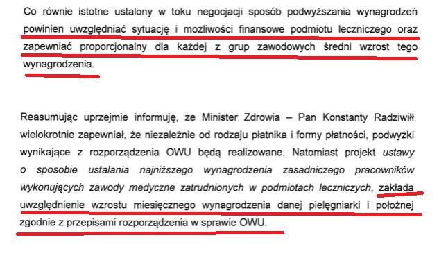 Coś kręci minister Radziwiłł. Związek pip pisze pismo do Radziwiłła w sprawie dodatków brutto brutto. Ministerstwo odpowiada po dwóch miesiącach, kiedy już trwa strajk pielęgniarek w Staszowie. Nie odpowiada Radziwiłł, ale wiceminister (z wykształcenia pielęgniarka).