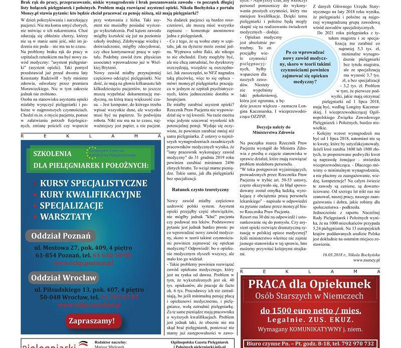 Kwietniowe (2018) wydanie miesięcznika branżowego Ogólnopolska Gazeta Pielęgniarek i Położnych – pielegniarki.info.pl Kolejne wydanie 6 czerwca 2018.