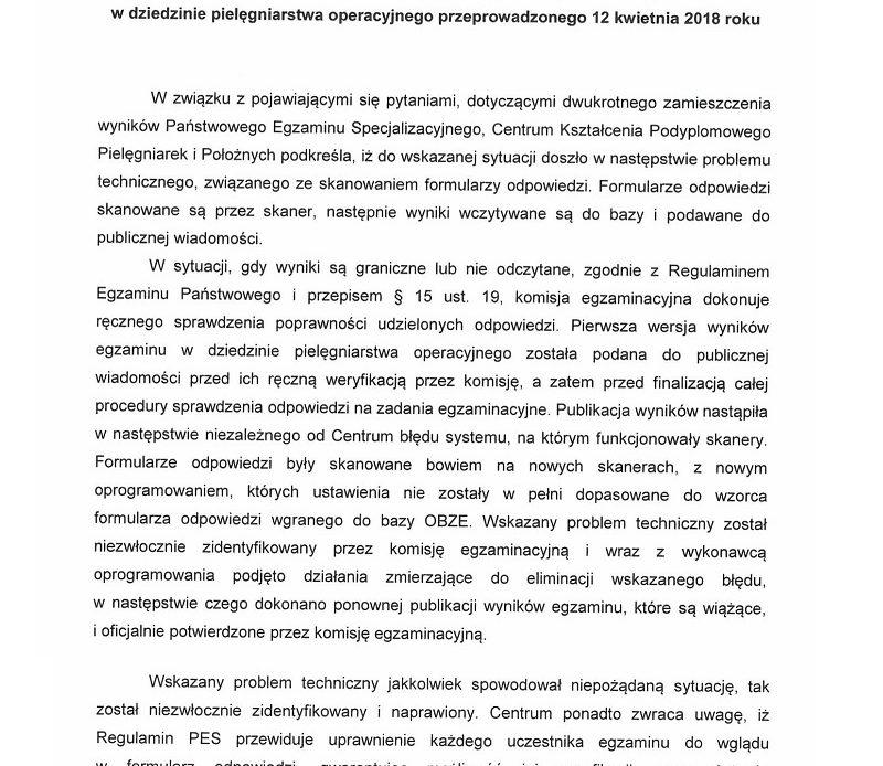 Komunikat CKPPiP w sprawie egzaminu państwowego pielęgniarek i położnych.