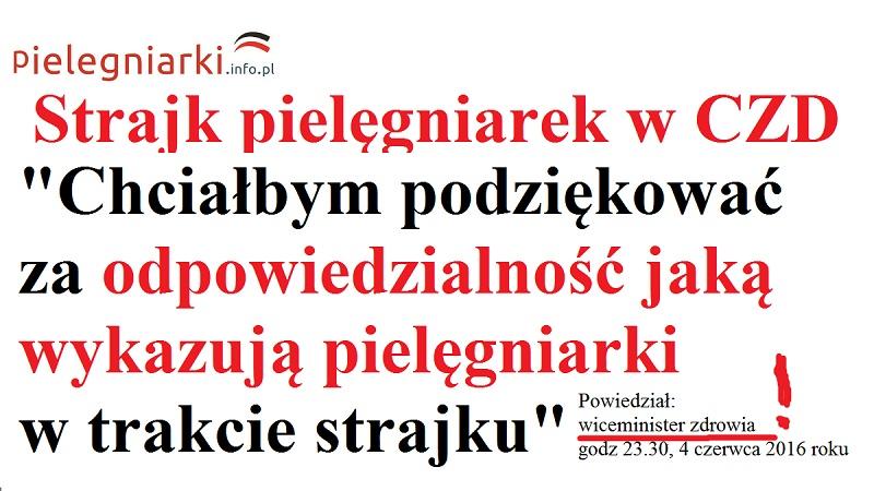 Wiceminister zdrowia u starajkujących pielęgniarek w CZD. Najpierw marchewka potem kij….