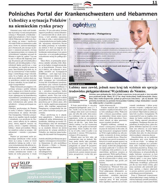 Miesięcznik Ogólnopolska Gazeta Pielęgniarek i Położnych nr 2/2016: uchodźcy a sytuacja Polaków na niemieckim rynku pracy; lubimy nasz zawód, jednak nasz kraj tak wybitnie nie sprzyja środowisku pielęgniarskiemu! Wyjeżdżamy do Niemiec.