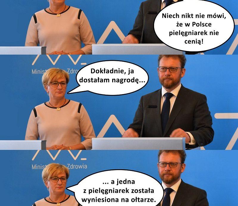 Pielęgniarski mem (6) – à propos Dnia Pielęgniarki i Położnej. Niech nikt nie mówi, że w Polsce pielęgniarek i położnych nie cenią!