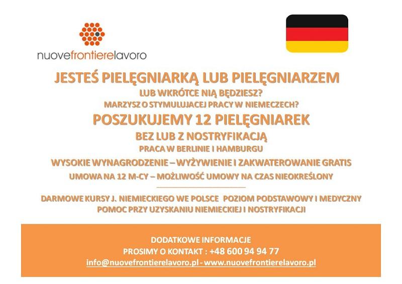 Praca dla pielęgniarek lub pielęgniarzy w Berlinie i Hamburgu. Bez i z nostryfikacją!