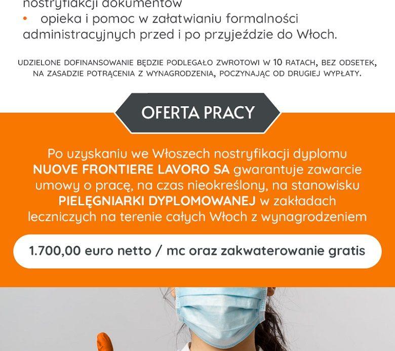 Praca dla pielęgniarek we Włoszech. Dofinansowanie dla 10 pielęgniarek.