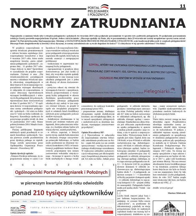 Kwietniowe wydanie miesięcznika Ogólnopolskiej Gazety Pielęgniarek i Położnych: co słychać w kwestii norm zatrudnienia pielęgniarek i położnych?