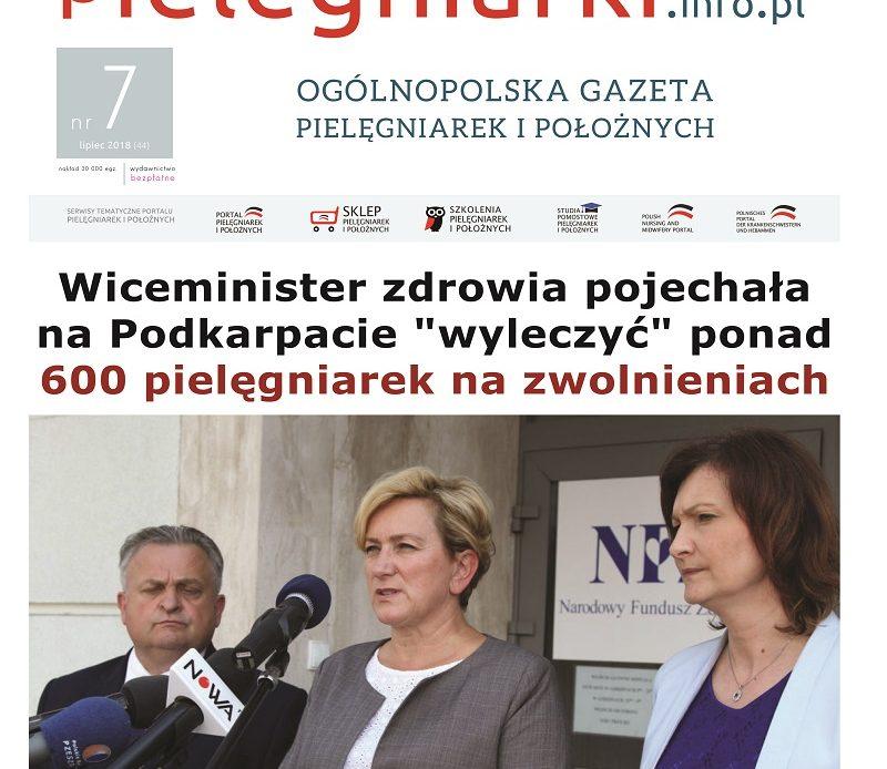 Lipcowe (2018) wydanie miesięcznika branżowego Ogólnopolska Gazeta Pielęgniarek i Położnych – pielegniarki.info.pl