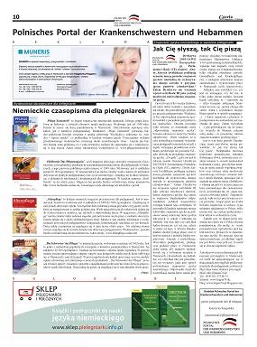 Ogólnopolska Gazeta Pielęgniarek i Położnych nr 1 – dodatek do gazety – Polnisches Portal der Krankenschwestern und Hebammen – jak Cię słyszą, tak Cię piszą