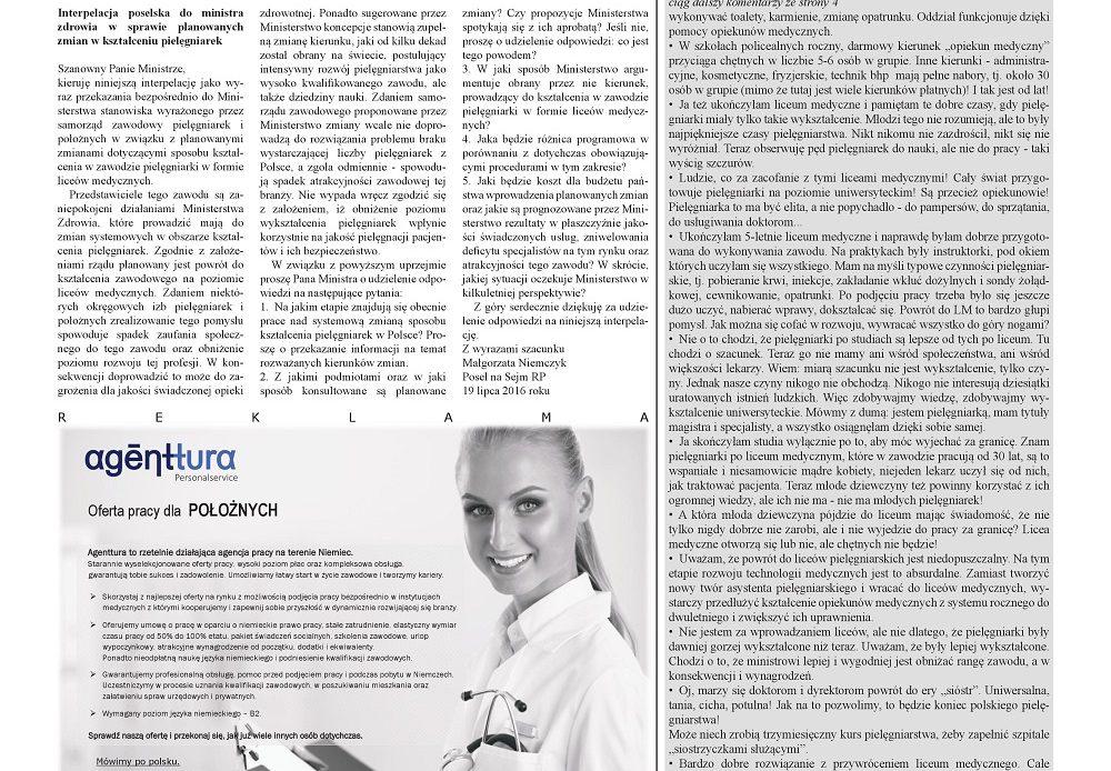 Miesięcznik Ogólnopolska Gazeta Pielęgniarek i Położnych nr 9 – Licea medyczne lekiem na całe zło?