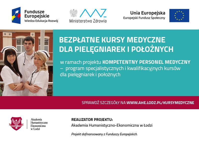 Bezpłatne kursy medyczne dla pielęgniarek i położnych na terenie województwa: łódzkiego, mazowieckiego, zachodniopomorskiego, śląskiego i kujawsko-pomorskiego
