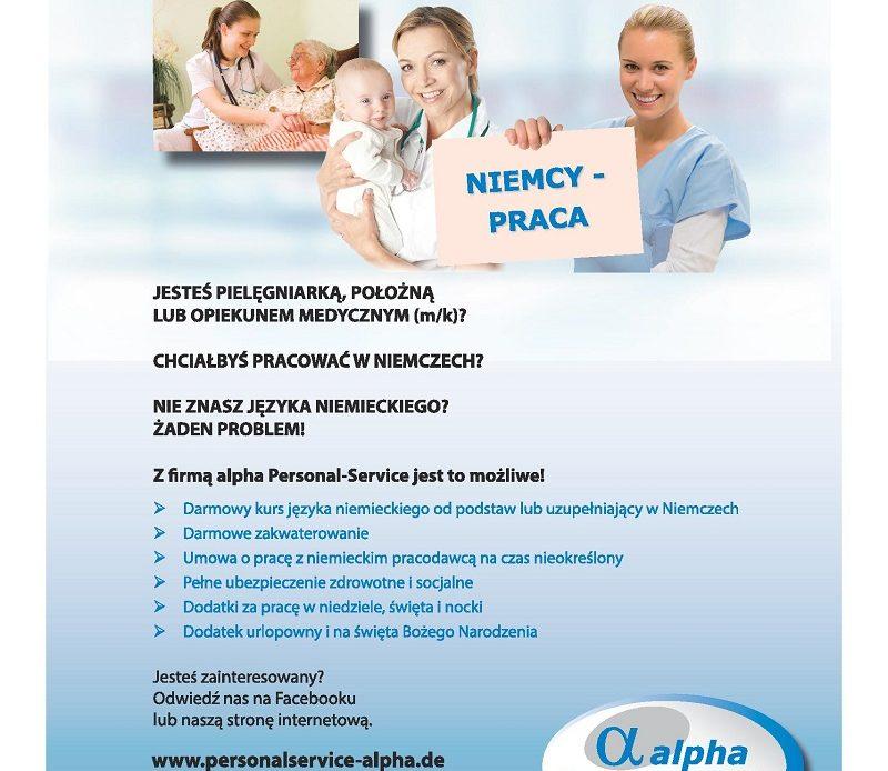 Zobacz ofertę pracy dla pielęgniarek w Niemczech zamieszczoną na stronie 3 miesięcznika branżowego dla pielęgniarek i położnych – w ofercie darmowy kurs języka niemieckiego od podstaw lub uzupełniający w Niemczech.