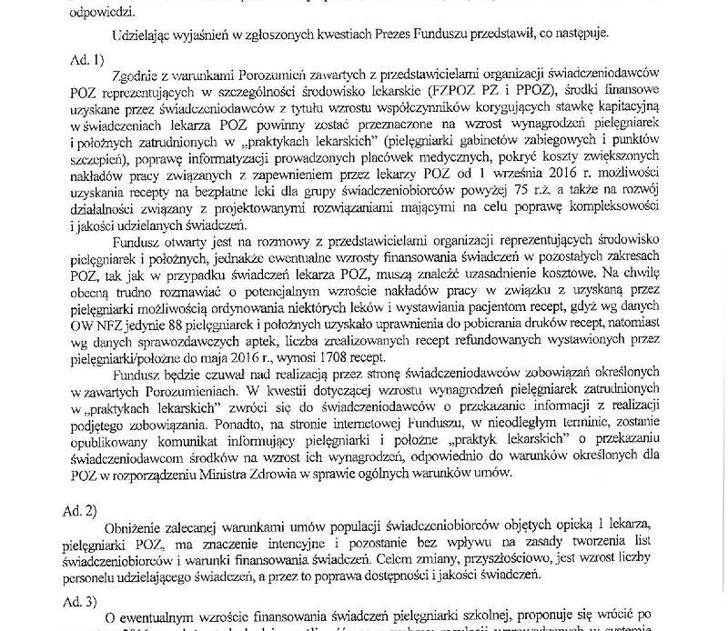 Notatka autorstwa centrali NFZ po spotkaniu z władzami izby pip.