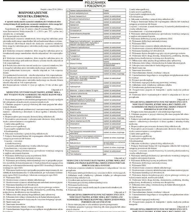 Zobacz projekt rozporządzenia w sprawie czynności wykonywanych przez ratowników medycznych, w tym na oddziałach szpitalnych.