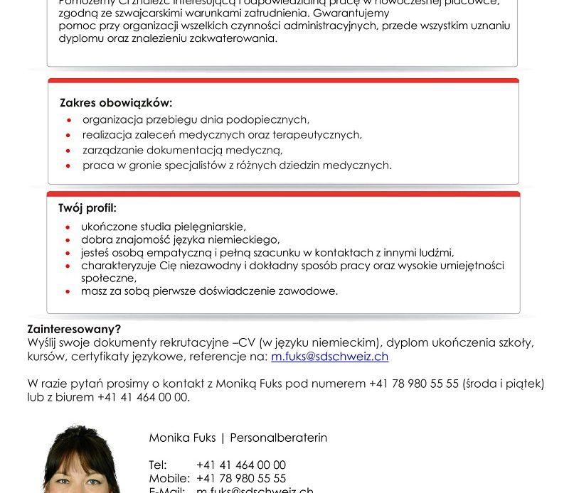 Praca dla pielęgniarek i pielęgniarzy w Szwajcarii.