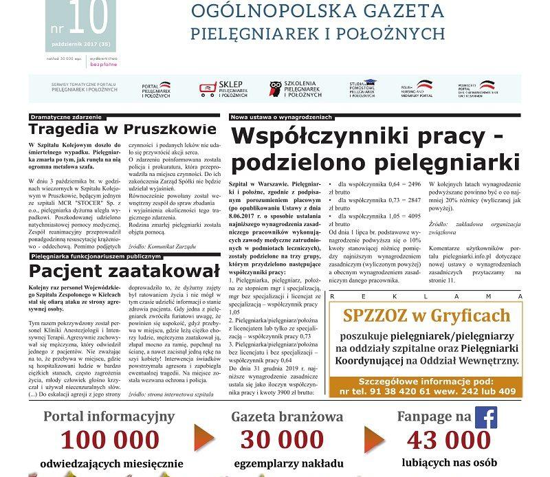 Październikowe (2017) wydanie miesięcznika branżowego Ogólnopolska Gazeta Pielęgniarek i Położnych – pielegniarki.info.pl