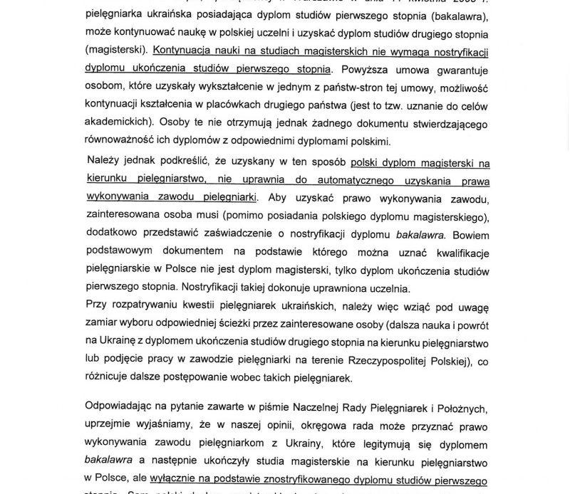 Stanowisko ministerstwa zdrowia w sprawie pielęgniarek ukraińskich posiadających dyplom bakalawra.